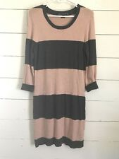 FRENCH CONNECTION Gray & Pink COLOR BLOCK STRIPE MATERINITY DRESS SIZE: M