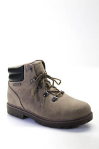 Lugz Womens Suede Lace Up Ankle Work Boots Gray Size 11