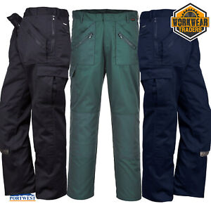 PORTWEST Classic Action Trousers Work Wear Garden Zip Pockets Choice of Colours
