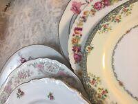 6 - Vintage Mismatched China Salad Plates Wedding Shower Pink Green Roses  #35