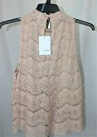 Womens Juniors Lace Size Large Blush Pink Lace Sleeveless top NWT