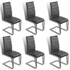 Freischwinger Küchenstühle 6x Esszimmer Stühle Schwingstuhl Kunstleder grau