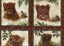 SPX Fabrics SAFARI GATOS Cuadrados 30cm Tira Animales Africanos 100% Algodón