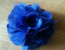 "Girls Womens 3""satin & Net Full Flower Hair Clip, Brooch, corsage Royal Blue.."