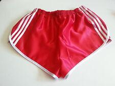 Retro Nylon Satin Sprinter Shorts S to 4XL, Red - White