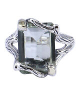 Green amethyst gemstone ring size 7 US jewelry 925 sterling silver R-27965