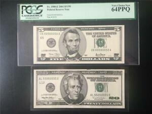 BINARY 0/5 SN# PAIR PCGS CH NEW 64PPQ 2001 $5 RICHMD & $20 1996 SANFRAN INK ERR