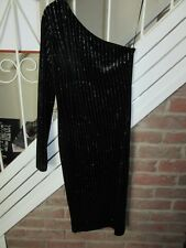 BNWT UK 6 Topshop Midi Dress Black Silver Glitter Striped One Shoulder Velvet