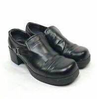 Vintage 90s Y2K MUDD Chunky Heels Womens 9.5 Black Shoes Platform Fredrik Buckle