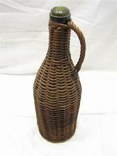 Vintage Wicker Covered Rattan Demijohn Olive Green Handled Bottle Carboy 1 Quart