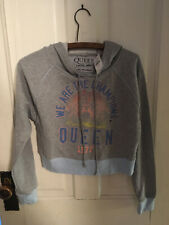 """Queen Classic Crest logo grey sz Xs hoodie Nwt """"We Are The Champions Queen 1977"""