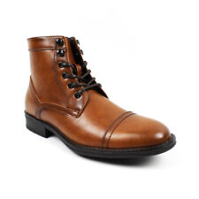 Men s Ankle Dress Boots Cap Toe Lace Up Side Zipper Leather Santino Luciano  B743 17063a301