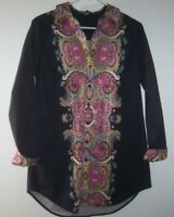 Go Silk Collared Flip Cuffed Button Front Tunic Top Women M Black Cotton/Paisley
