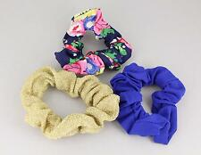 Blue gold floral set 3 fabric ponytail holder hair tie elastic scrunchies