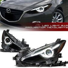For 2014 2016 Mazda 3 Matte Blk Drl Halo Led Strip Tube Bar Projector Headlights Fits Mazda 3