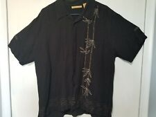 Black Linen/ Rayon With A Bamboo Print Hawaiian Shirt.  Size XL.