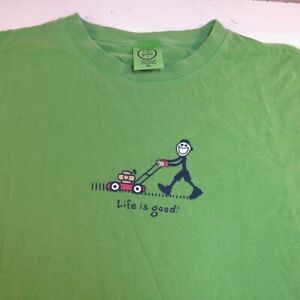 LIFE IS GOOD MOW LAWN CUTTING GRASS TEE T SHIRT Mens XL Green