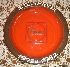 Glit Iceland Lava Art Pottery Ashtray Bowl Advertising Thoro Orange Red Black