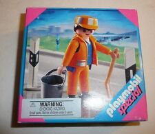 Playmobil Set 4682 - Janitor Worker with Broom Sweeper Bucket Cones Special