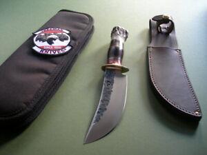 JIM BEHRING TREEMAN KNIFE HM WOODCRAFT / STAG / BRASS HARDWARE / SHEATH & CASE