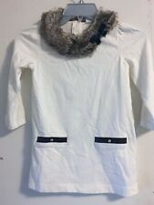 Janie and Jack cream colored tunic with faux fur color, girls size 8