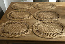 VINTAGE RETRO WICKER LARGE OVAL RAFFIA WOVEN PLACE MATS TABLE MATS BOHO X6