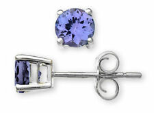 Tanzanite Stud White Gold Fine Earrings