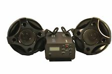 "250w 3ch motorcycle boat snowmobile audio system W ' 3"" speakers sub input black"
