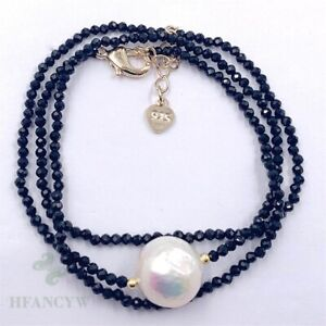 2mm Black Spinel Color Baroque Pearl Necklace 18 inches Aurora Accessories