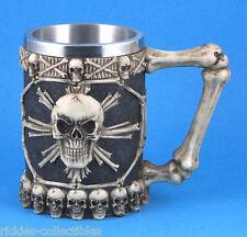 New Gothic Medieval Human Skull Drinking Tankard / Stein / Mug - Skull & Bones