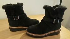 M&S Women's Boots Black Suede Platform Fake fur lined Boots UK 3 standard fit