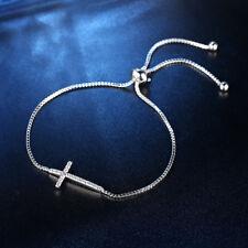 Fashion Women White Gold Filled Clear Crystal Cross Adjustable Chian Bracelets