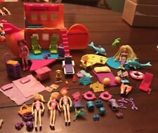 POLLY POCKET Groovy Getaway Jet Plane And Island Mermaid Dolphins And Extras