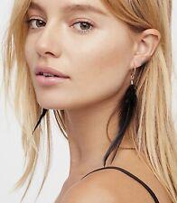Free People Hanging Feather Earrings Cross Black Set / 4 Gold Post Pierce NWT
