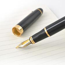 One Jinhao X450 Fountain Pen Black Medium Nib Gold Trim New