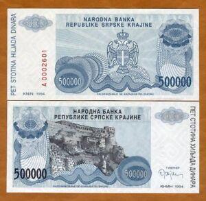 Croatia, Knin 500,000 (500000) Dinara, 1994, P-R32, UNC > Bosnian War