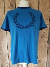Mens Fred Perry T Shirt Large Blue Big Logo 44 Chest
