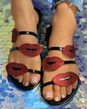 Lip Pattern Rhinestone Slippers Sliders Fashion Women's Shoes