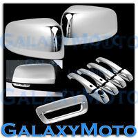 Chrome Half Mirror+ 4 Door Handle+Smart Hole+Tailgate Cover for 14-17 Durango