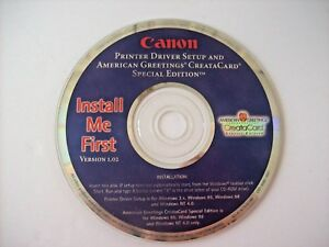 Canon Printer Driver Setup and American Greetings Creatacard Special Edition