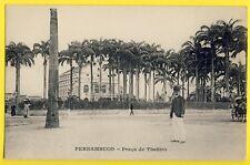 cpa Dos 1900 Cachet Méssageries Maritimes BRÉSIL PERNAMBUCO Praça de Theâtro