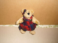 """Boyds Bears Plush Becky Red Plaid Overalls 6"""" 1990-97  20th Anniversary Bear"""
