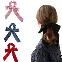 Women Velvet Big Bow Hair Ropes Scrunchies Elastic Hair Ties Head Band For Girl