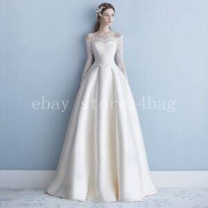 Off Shoulder Satin Hepburn Style bride wedding dress Evening Party Dress Skirt