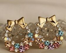 Gold Plated Colourful Rhinestone Crystal BowKnot Earrings Stud Women Jewelry UK