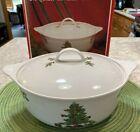 TIENSHAN HOLIDAY HOSTESS 2.5 Qt Casserole & Lid Christmas Tree EUC w/ Box