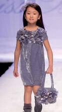 MISS BLUMARINE Luxus Kleid & Tasche*Samt*3D Bluten*blau Gr.116 122 NEU