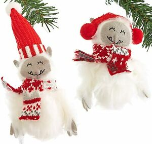 Fuzzy Yeti w/Scarf or Earmuffs Christmas Tree Ornaments by Eucatus