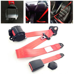 Red 3-Point Car Front Seat Belt Buckle Kit Automatic Retractable Safety Straps