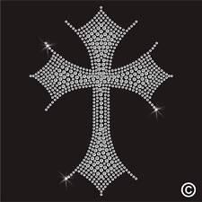 CLEAR CROSS Rhinestone Diamante Transfer Iron On Hotfix Gem Crystal Motif Patch